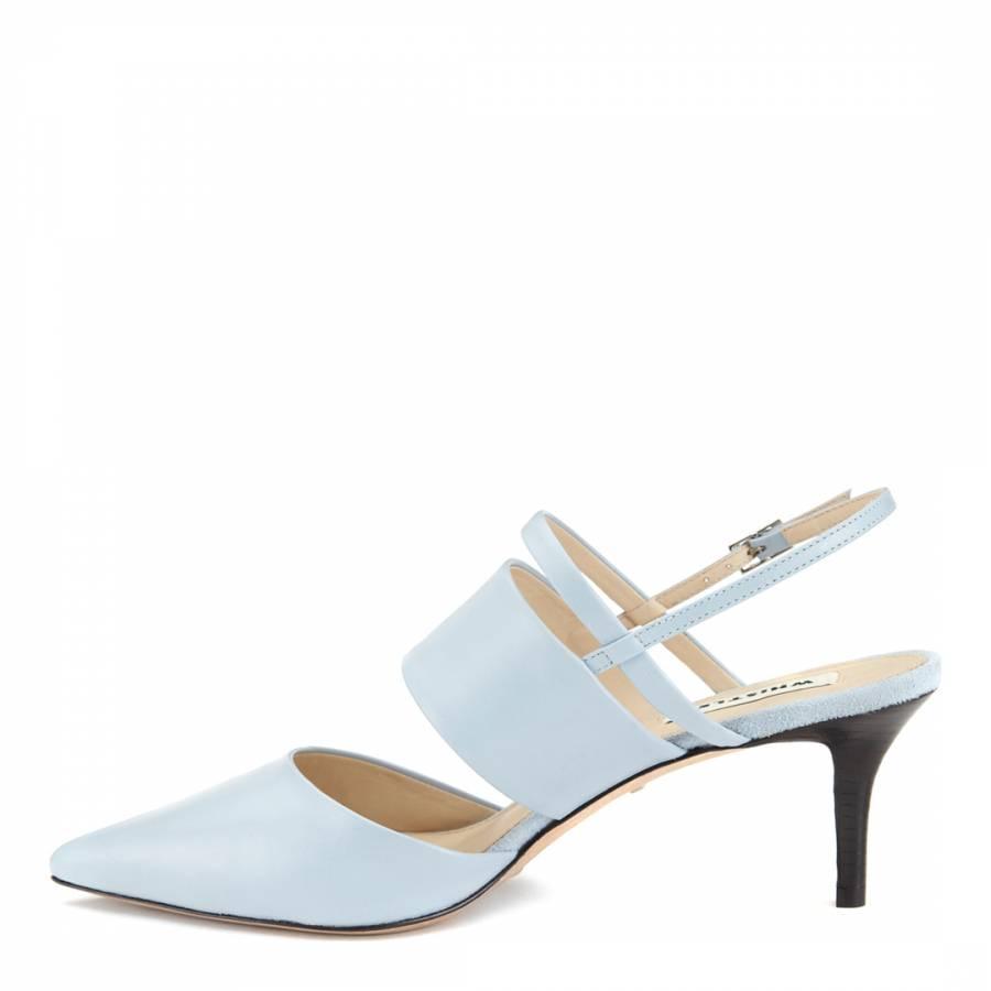 8e2a8ac642 Pale Blue Leather Joanna Slingback Mule Court Shoes Heel 5cm ...