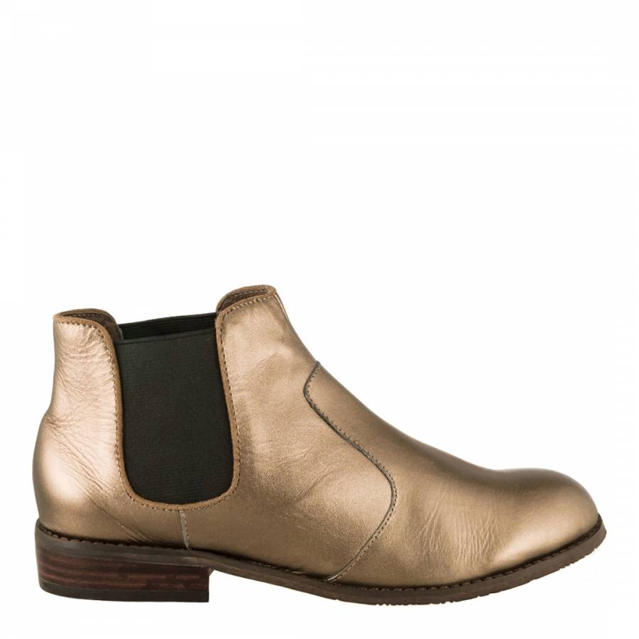 080d1ed0c98 Esska Metallic Gold Leather Amy Chelsea Boots