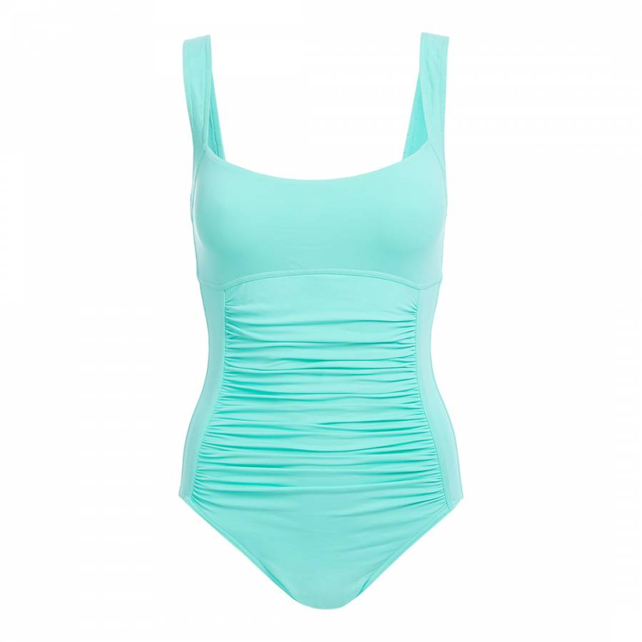339a325cb284f Melissa Odabash Aqua Blue Calabria Ruched Swimsuit