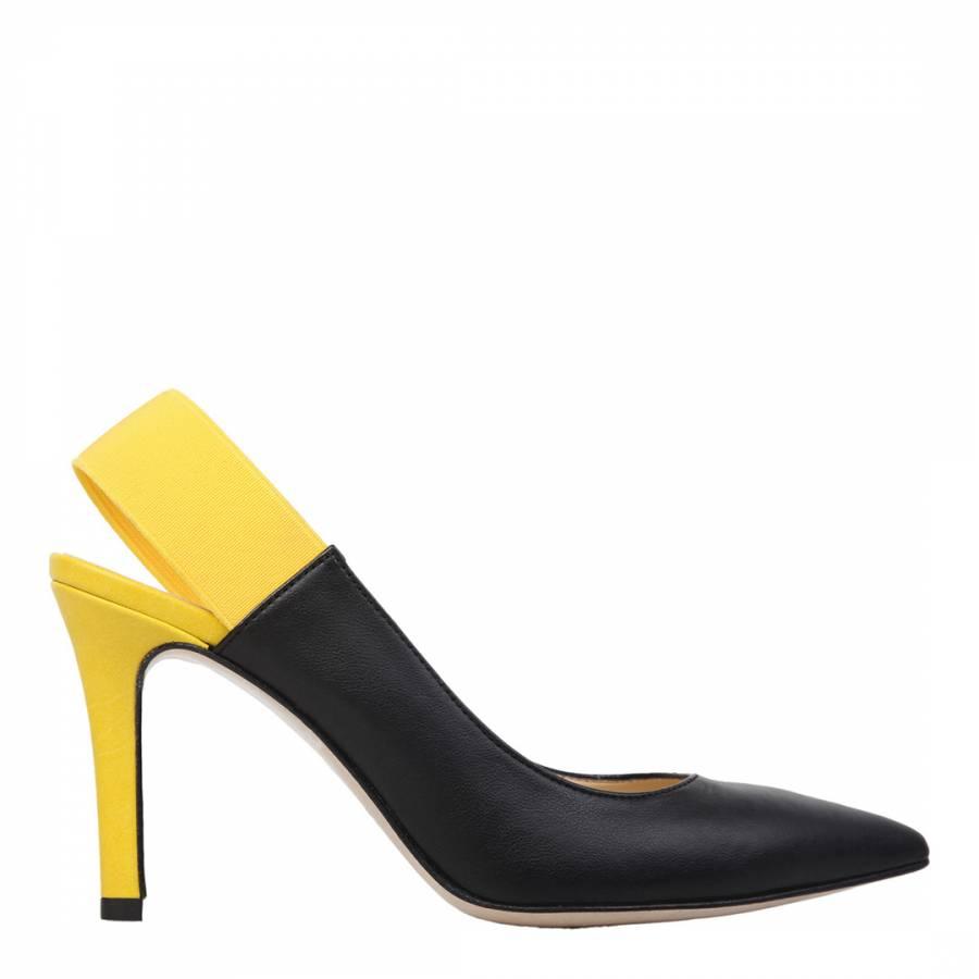 Black/Yellow Leather Nancy Stiletto