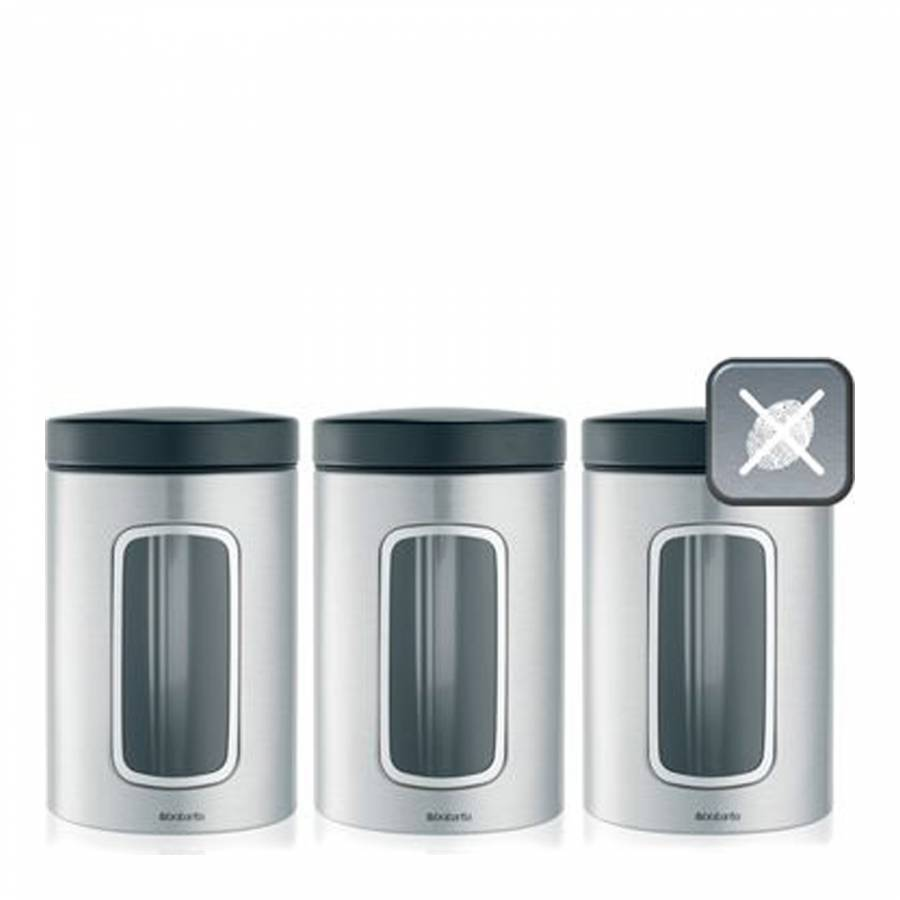 Image of Set of 3 Matt Steel Window Canisters 1.4L