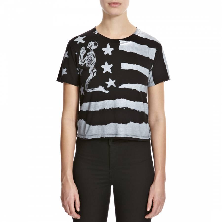 67f1ad49 Women's Black/Grey Flag Cropped T Shirt - BrandAlley
