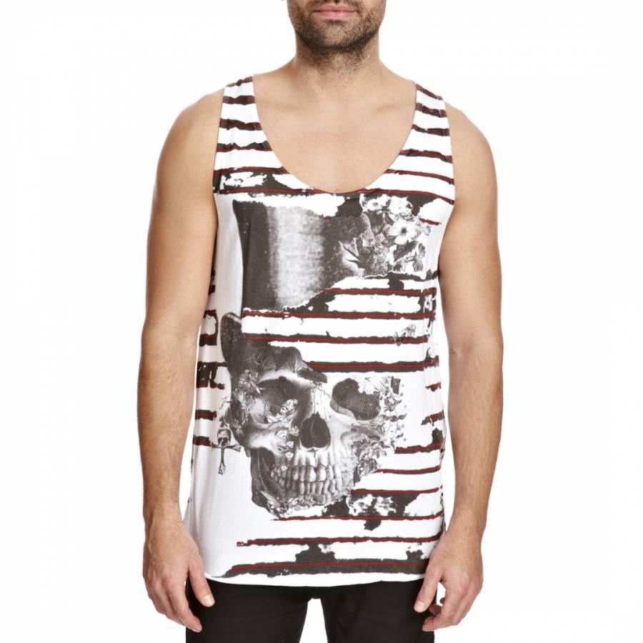 0e05cc335c6f8a Men s White Black Skull Stripe Graphic Cotton Tank Top - BrandAlley