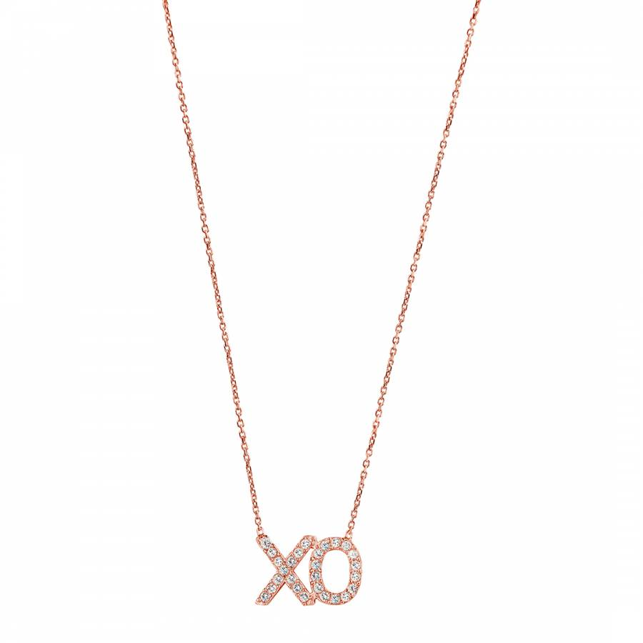 Rose Gold Clear Cubic Zirconia Cut Out Xo Necklace Brandalley