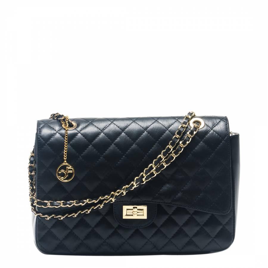 Black Leather Quilted Shoulder Bag - BrandAlley : black quilted handbag - Adamdwight.com
