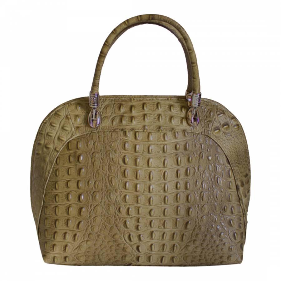 2120275d5c Taupe Leather Crocodile Embossed Fiammac Handbag - BrandAlley