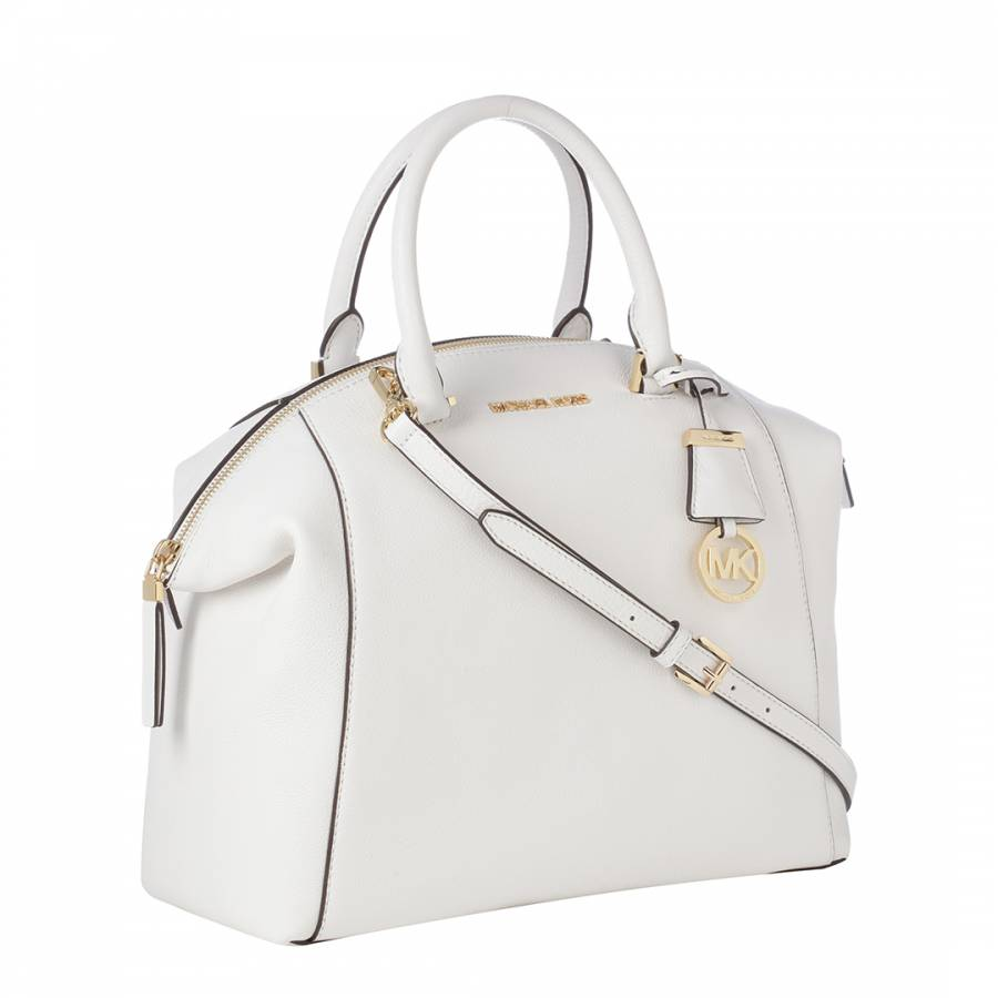 cfd36ffaecf5 Michael Kors White Leather Riley Handbag