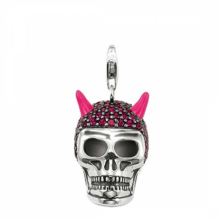cc7914297 Thomas Sabo Silver/Neon Pink Skull Cubic Zirconia/Sterling Silver Pendant