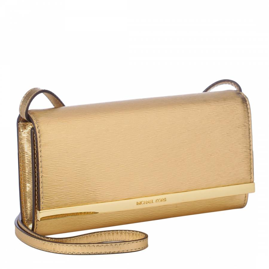 f8685ec191b79b Michael Kors Metallic Gold Leather Envelope Clutch Bag