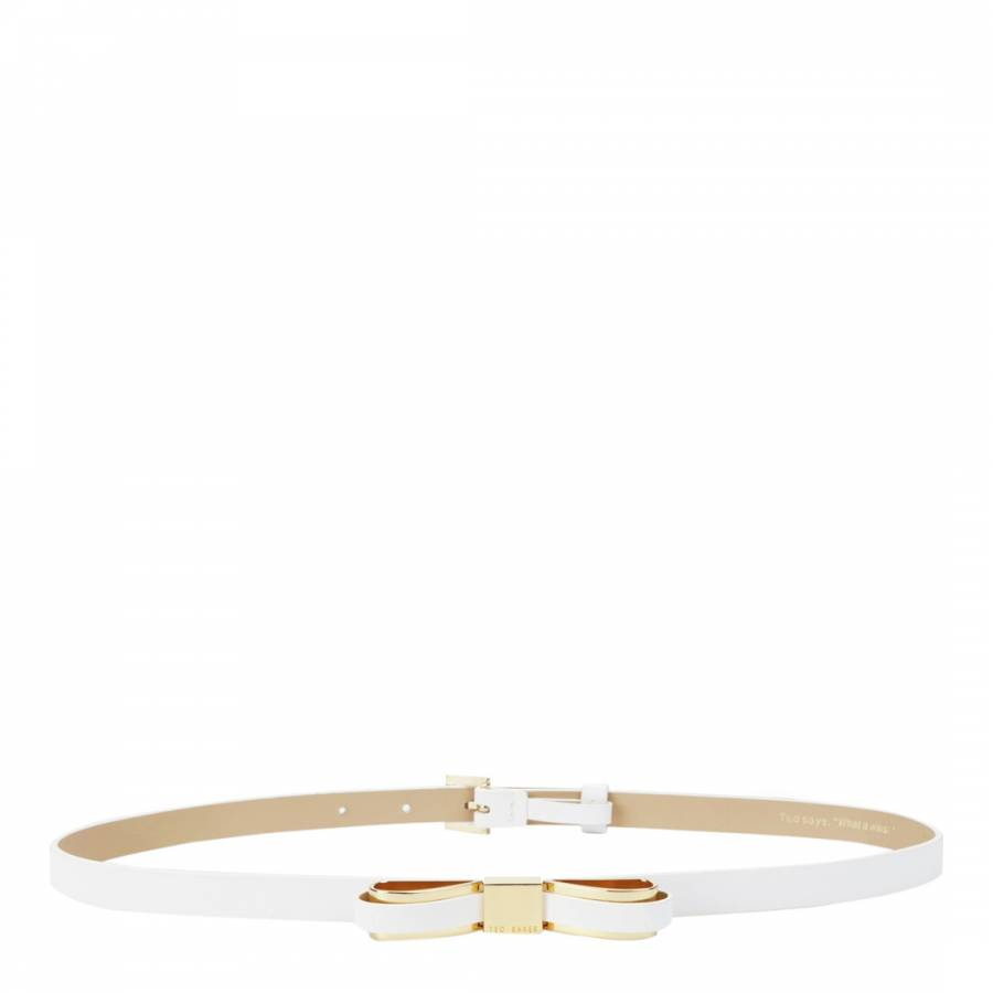 aa1efd851 White Leather Bowun Skinny Bow Belt - BrandAlley