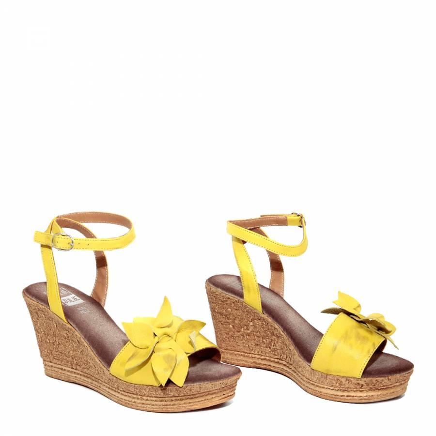 e8645c32d97f Yellow Leather Flower Wedge Sandals Heel 6.5cm - BrandAlley