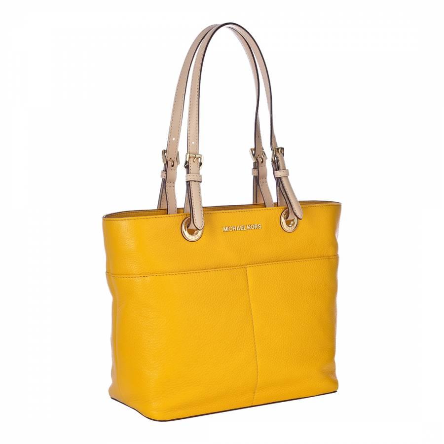 7fee951285a7 ... Michael Kors YellowNude Leather Bedford Pocket Tote Bag ...