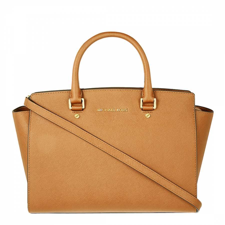 9477e2232ee8 Michael Kors Tan Leather Selma Medium Handbag