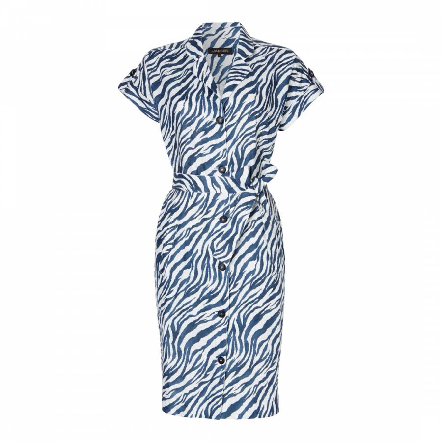 c09470e920a Jaeger Navy White Zebra Print Linen Shirt Dress. prev. next. Zoom