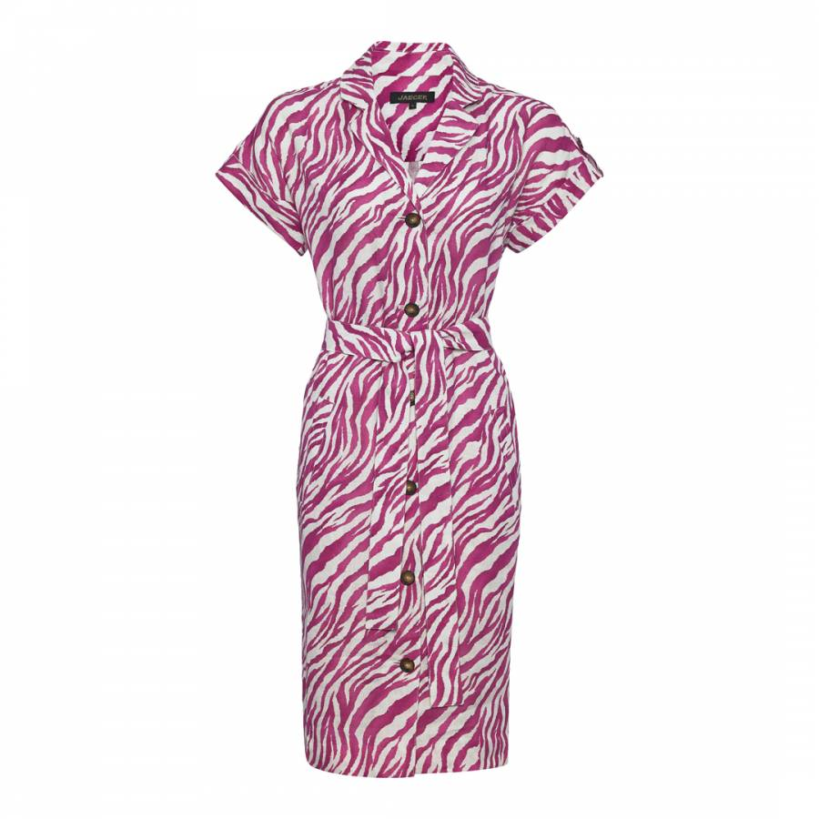 8cd2ded465b Pink White Zebra Print Linen Shirt Dress - BrandAlley
