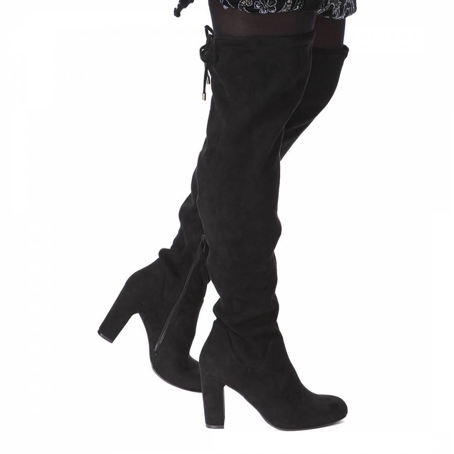 Black Pace Long Boots Heel 9.5cm