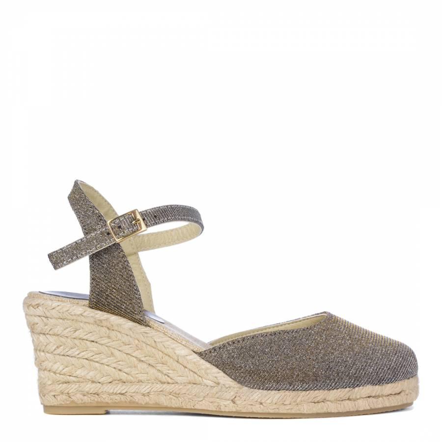 d99941c787ef Carvela Kurt Geiger Metallic Grey Glitter Stella Wedge Shoes Heel 7cm