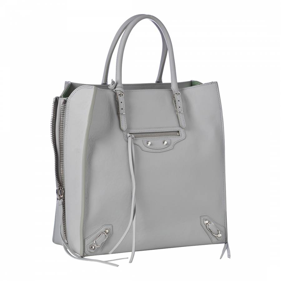 6d68d7b8c1 Grey Leather Side Zip Tote Bag - BrandAlley