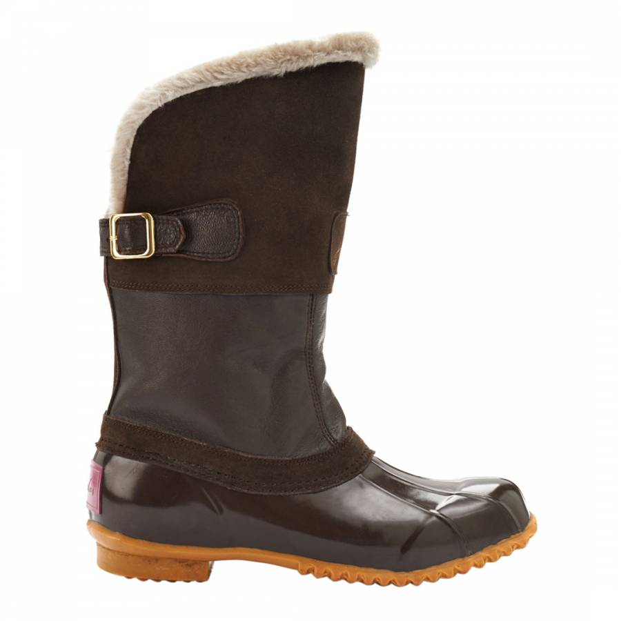 398fadd7ae5 Joules Women's Dark Brown Leather Faux Fur Muck Boots