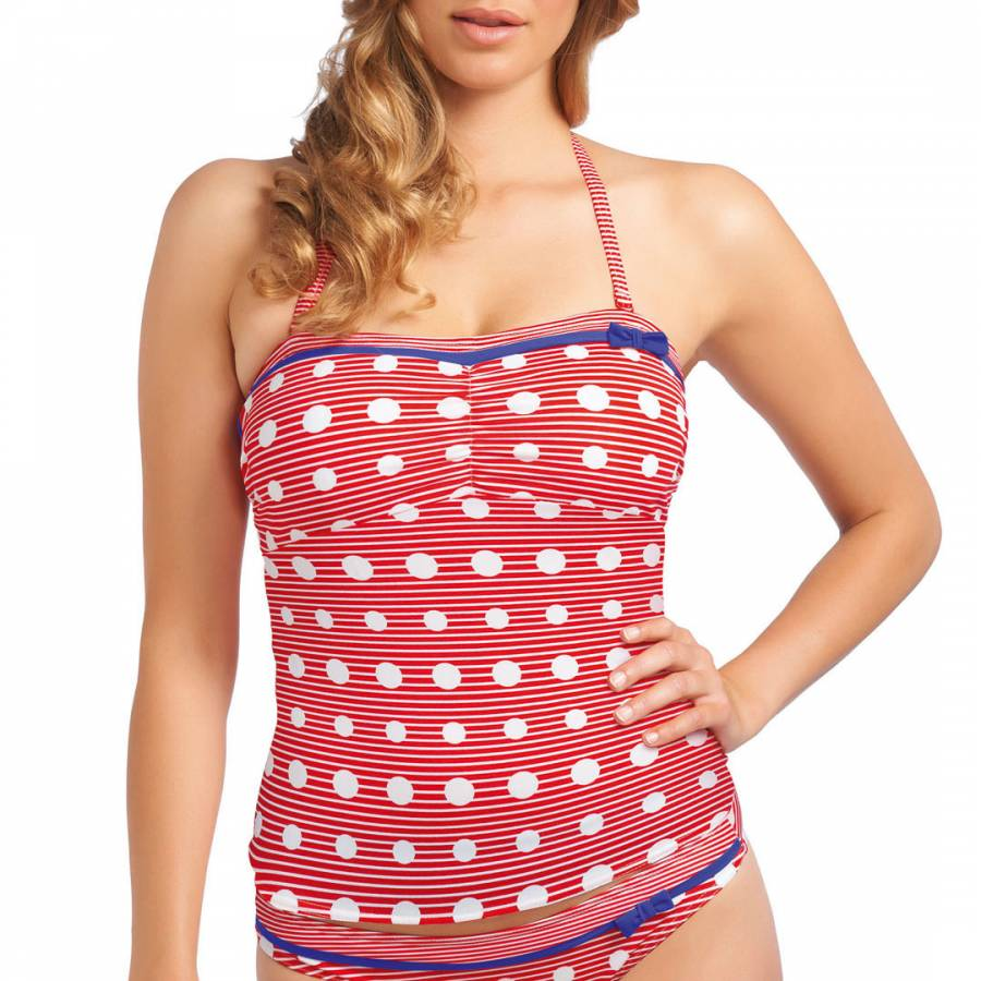 4a3ad80f6f031 Freya Red/Multicolour Hello Sailor Stripe/Polka Dot Bandeau Tankini Top