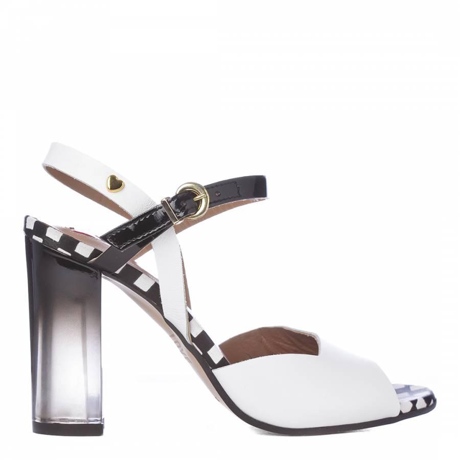 40492262129 White/Black Leather Ombre Sandals Heel 10.5cm - BrandAlley