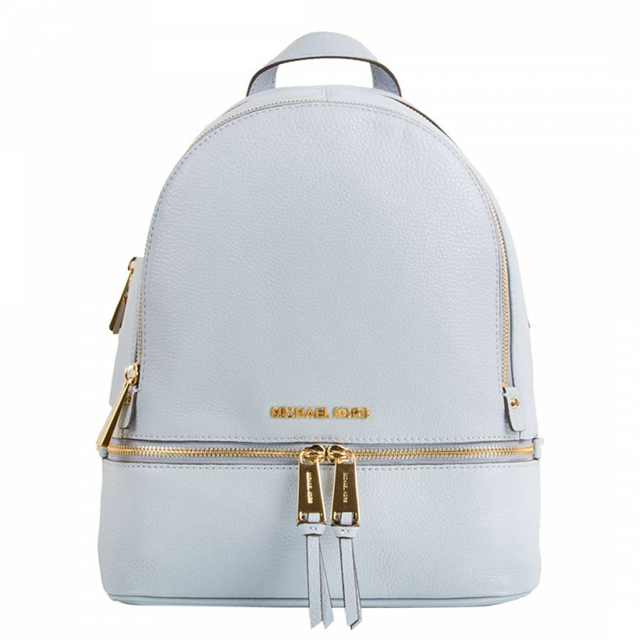 e96a4179ccf0 clearance michael kors leather backpack bd7d4 21c5e; ireland michael kors  pale blue leather rhea zip backpack c53ac 0af31