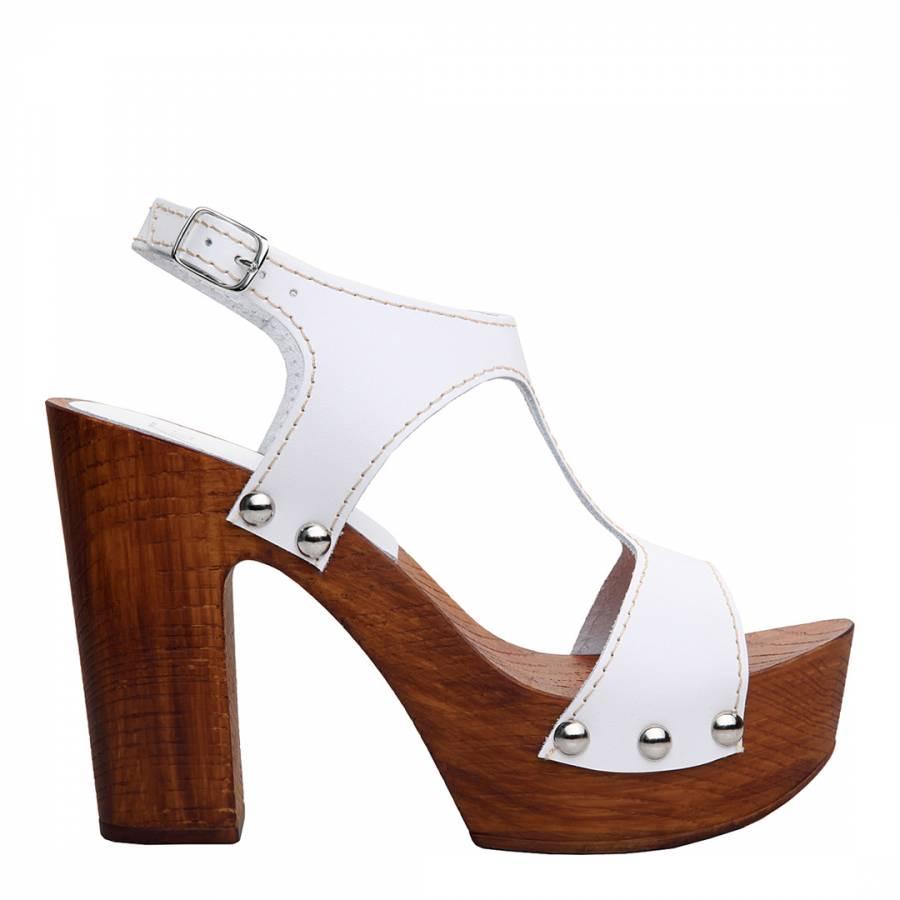 57bfc11bcf5a89 Versace 19.69 ASMI White Leather Sofia Stud Clog Sandals Heel 10cm
