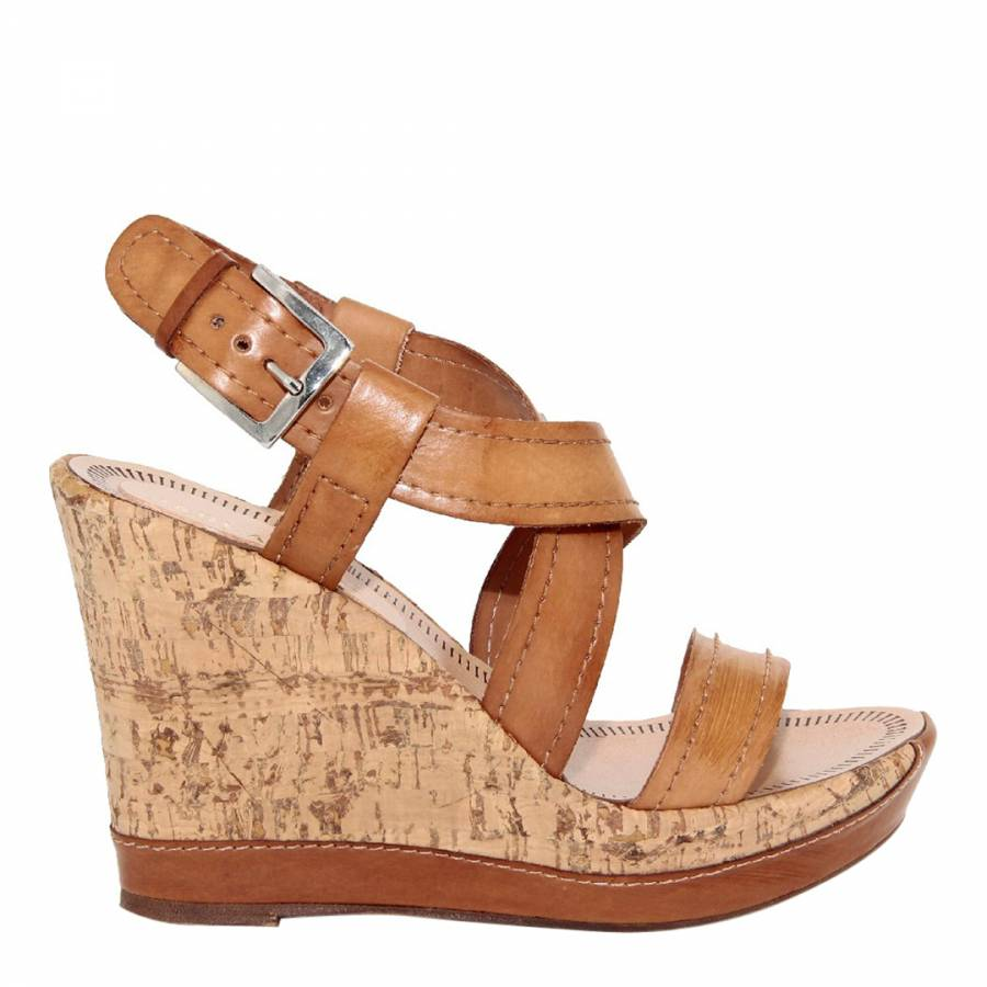 69fb6df0e0a8 Brown Leather Multi Strap Wedge Sandals Heel 11cm - BrandAlley