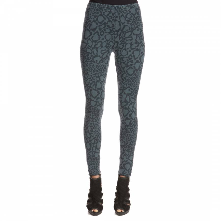 e8257ee345ecd4 A Postcard From Brighton Dark Green Cool Cat Animal Print Stretch Leggings