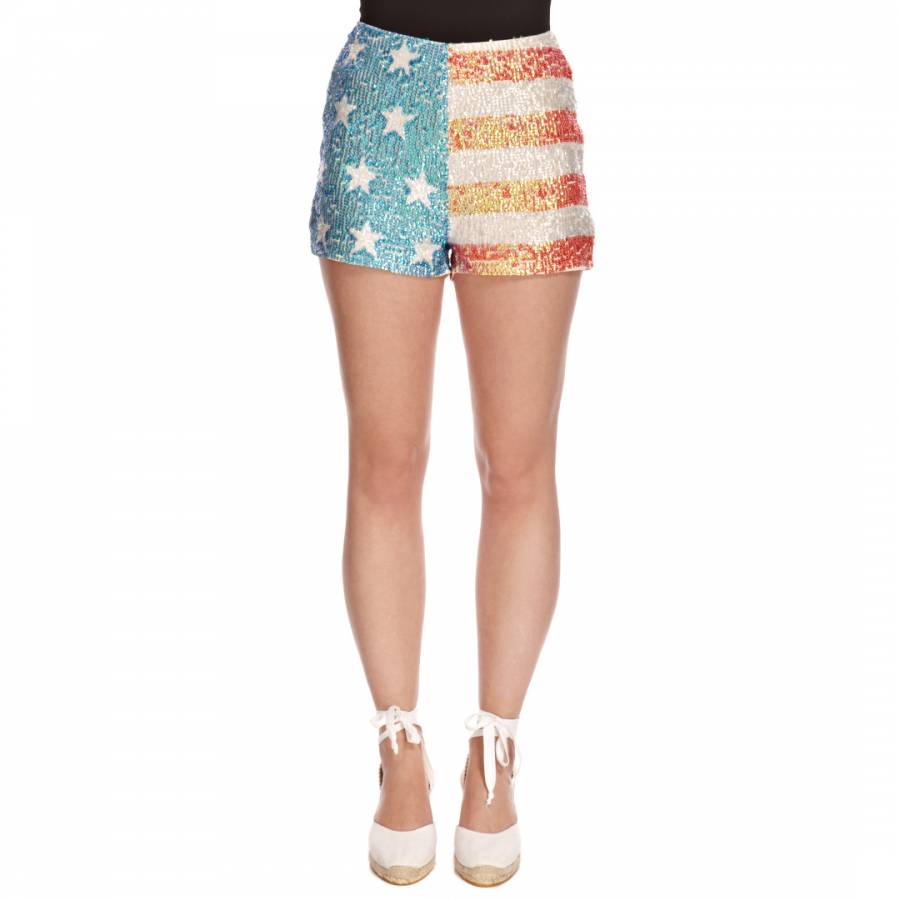 4a0b3ead5c211a Multicolour American Glitter High Waisted Shorts - BrandAlley