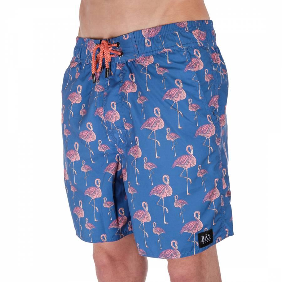 a603ac36ea Men's Blue/Pink Flamingo Swim Shorts - BrandAlley