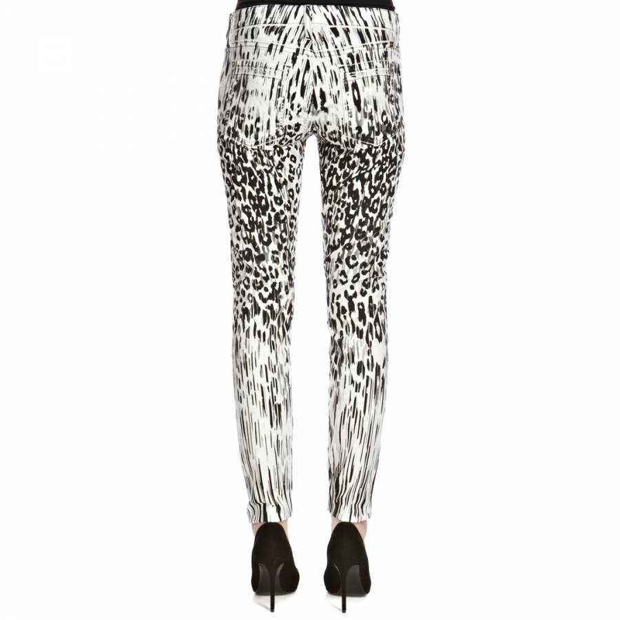 91cf566366678e Black/White The Skinny Leopard/Stripe Print Super Stretch Jeans - BrandAlley