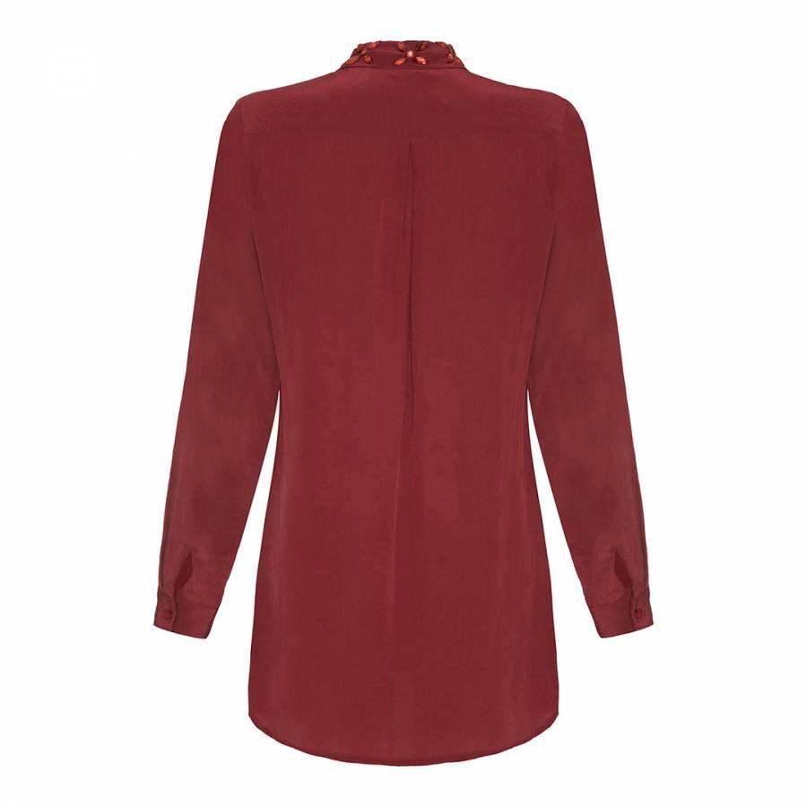 7abee959d55fa Burgundy Jewel Collar Silk Blouse - BrandAlley