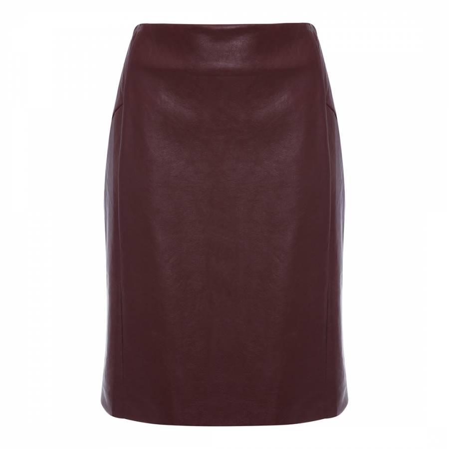 3e7c4381d0fb72 Almost Famous Burgundy Faux Leather Pencil Skirt