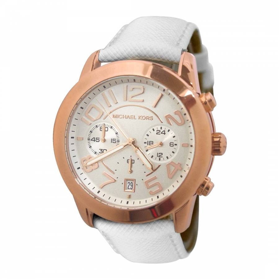 5b79307483 Michael Kors Ladies White/Rose Gold Stainless Steel/Leather Mercer Watch