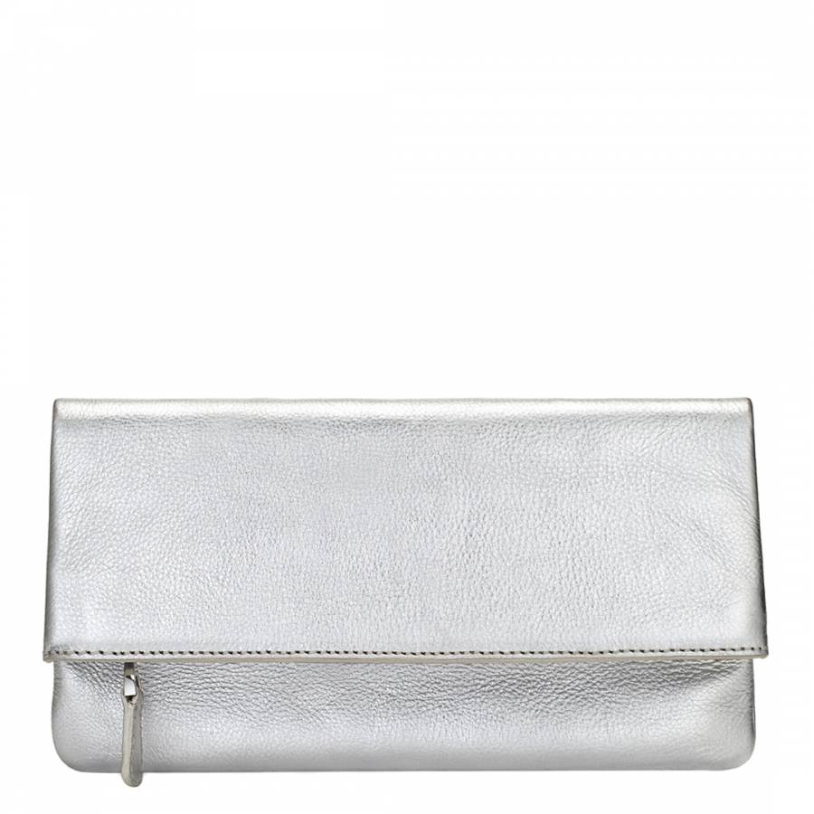 801f947a7619 Silver Metallic Leather Harper Foldover Clutch Bag - BrandAlley
