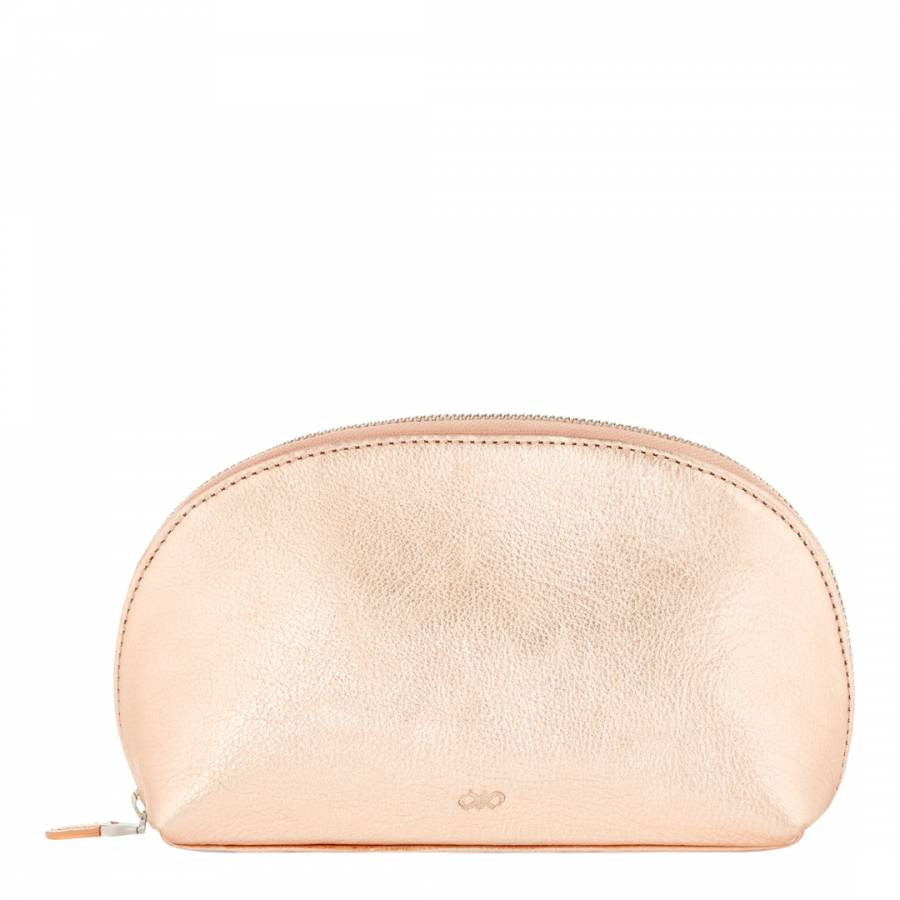 f9d138902d13 Jaeger Light Pink Metallic Leather/Cotton Blend Harper Large Cosmetic Bag
