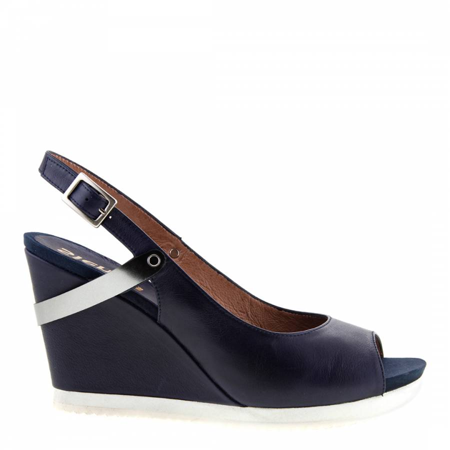 Navy/Silver Leather Peep Toe Wedge