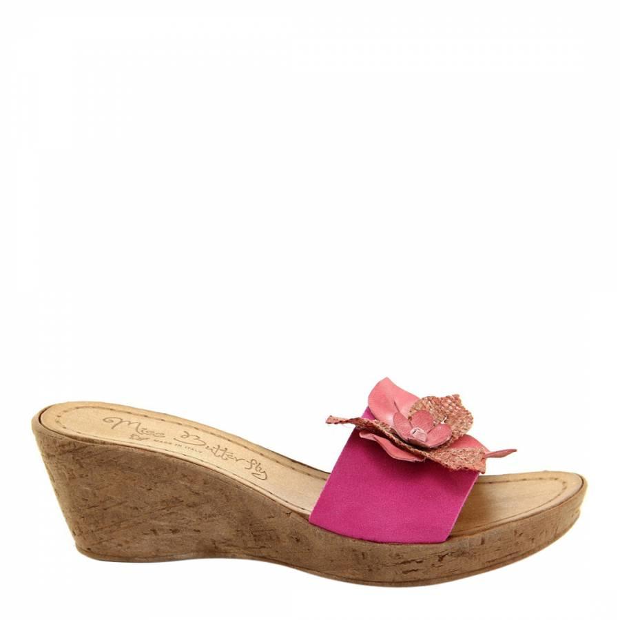 Pink Suede Flower Wedge Mules Heel 6cm Brandalley