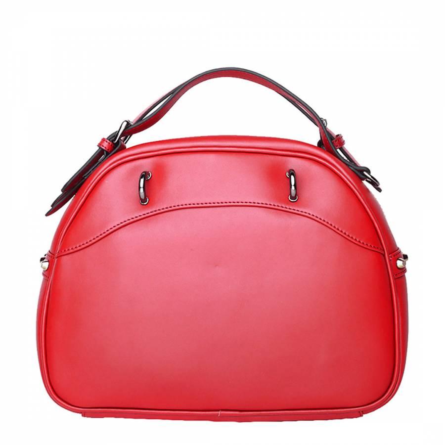 Red Leather Round Handbag - BrandAlley