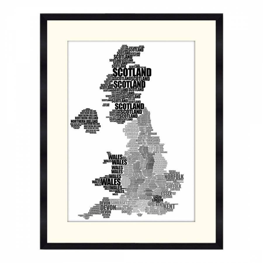 Map Of Uk Black And White.51 Dna Black White England Word Map Framed Print