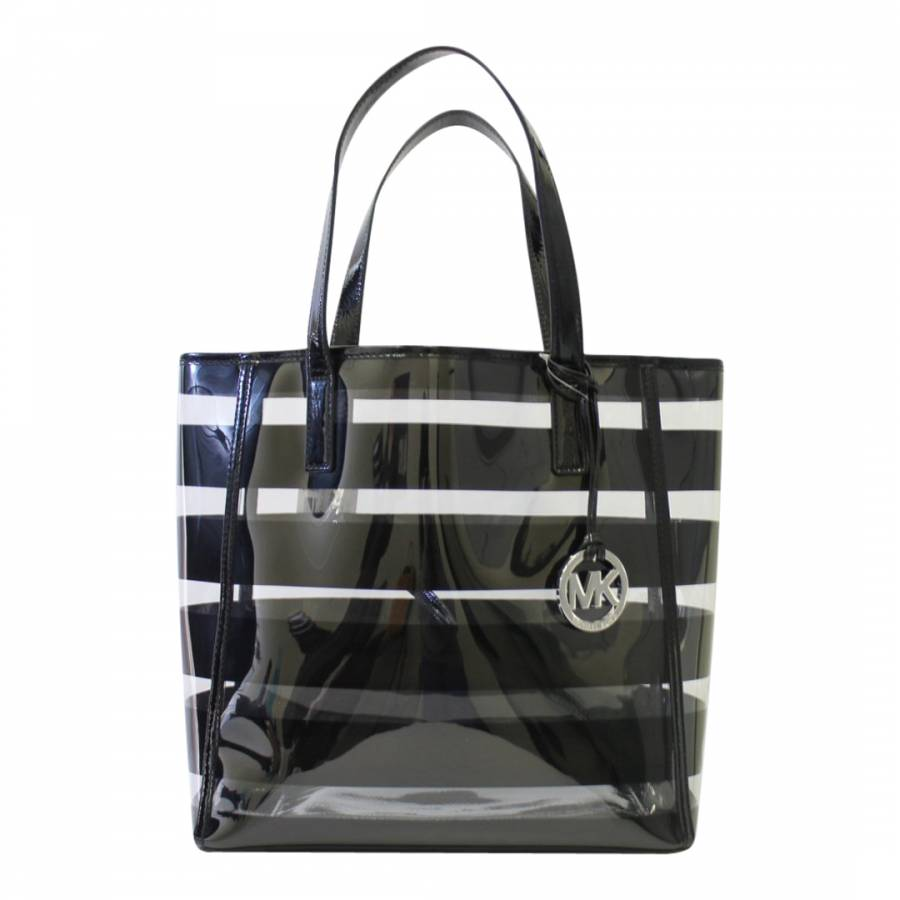 47e763f8041fc8 Zoom · Michael Kors Black Leather Eliza Stripe Print Tote Bag