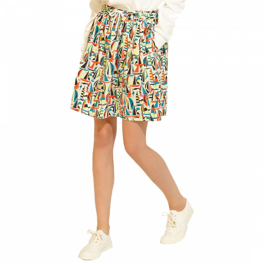multicolour sailboat cotton high waisted skirt brandalley