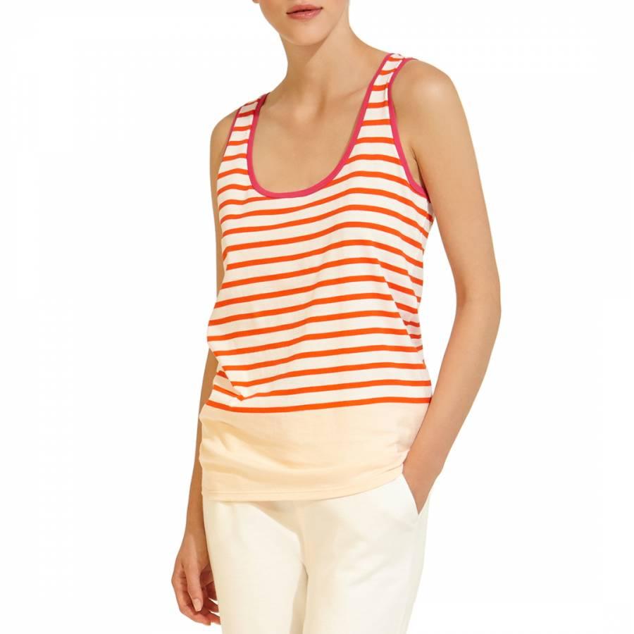eb796a5d802494 Orange White Stripe Sleeveless Cotton Top - BrandAlley