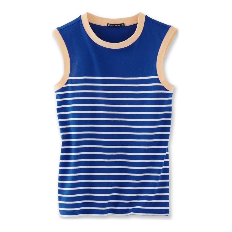 159466de311298 Zoom · Petit Bateau Blue White Beige Stripe Sleeveless Cotton Top