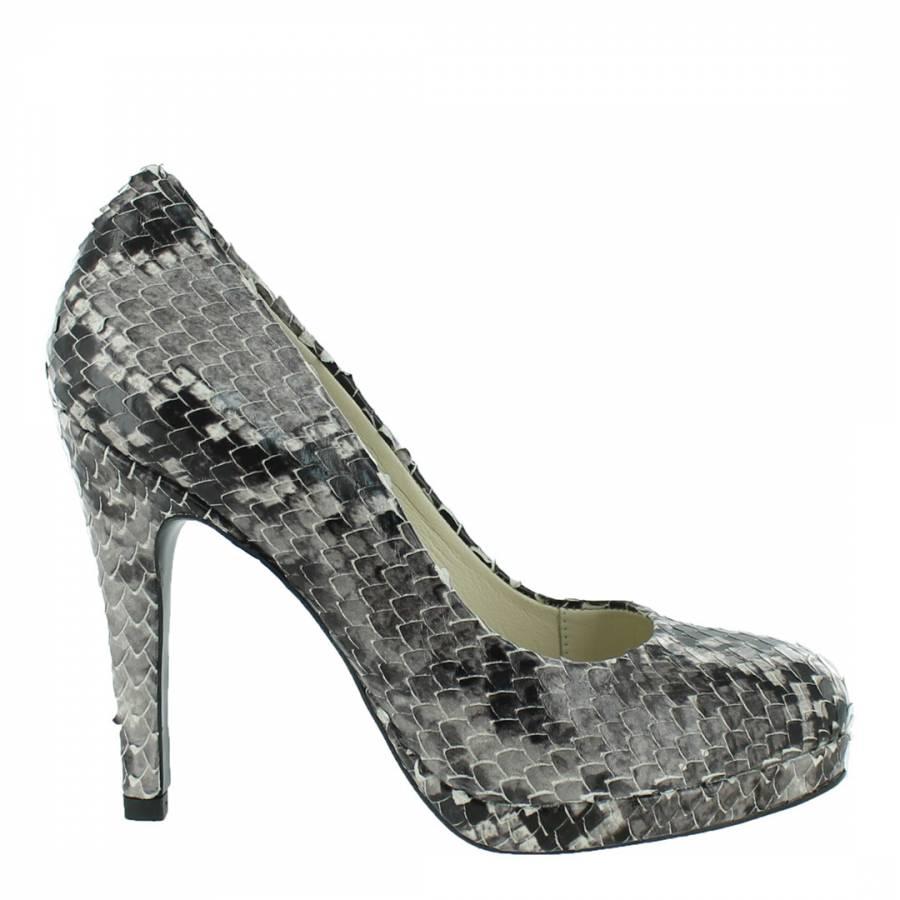 Grey Snakeskin Platform Court Shoes