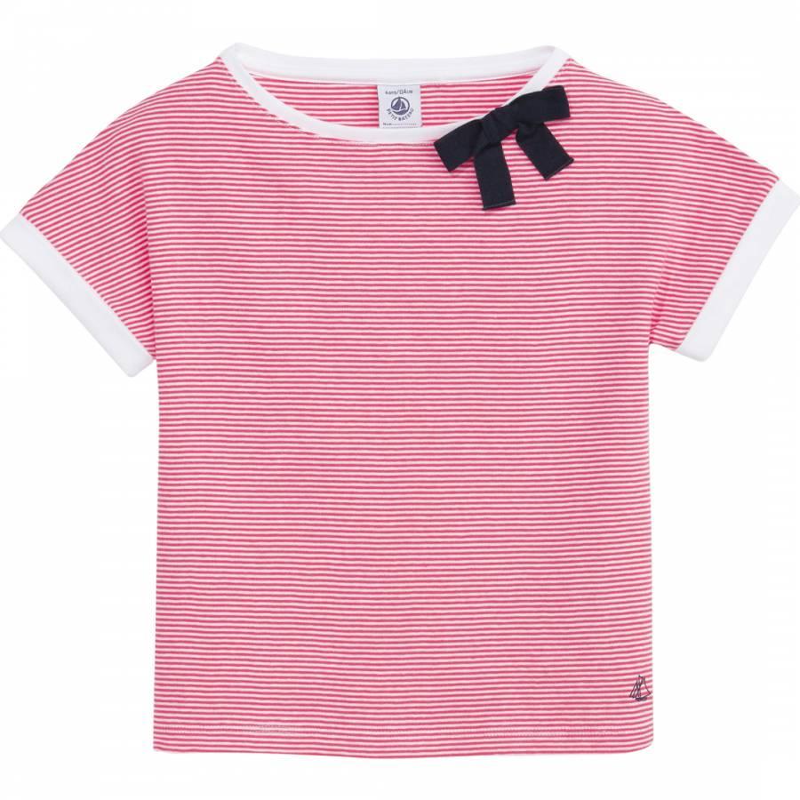a3836510f5b3 Girl s Red White Stripe Bow Cotton T Shirt - BrandAlley