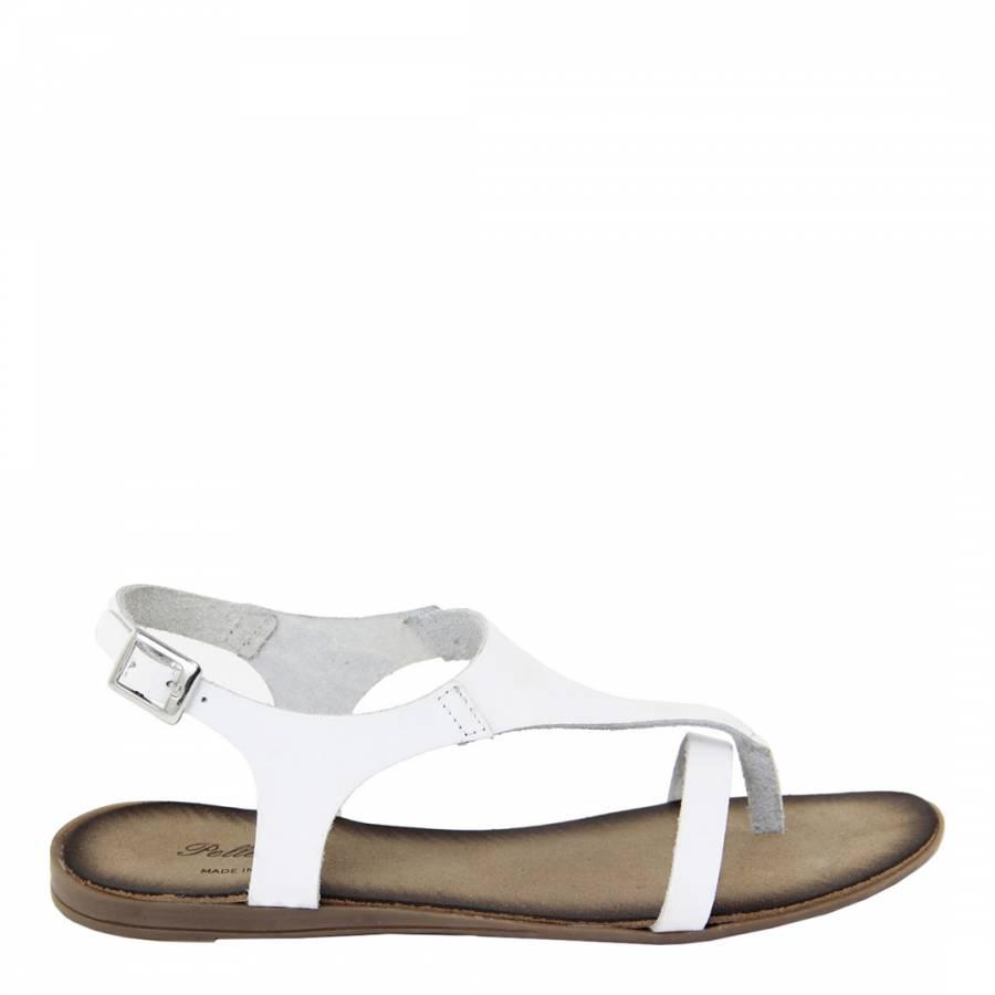 64ab421c6998 Pelladoca White Leather T Bar Sandals. prev. next. Zoom