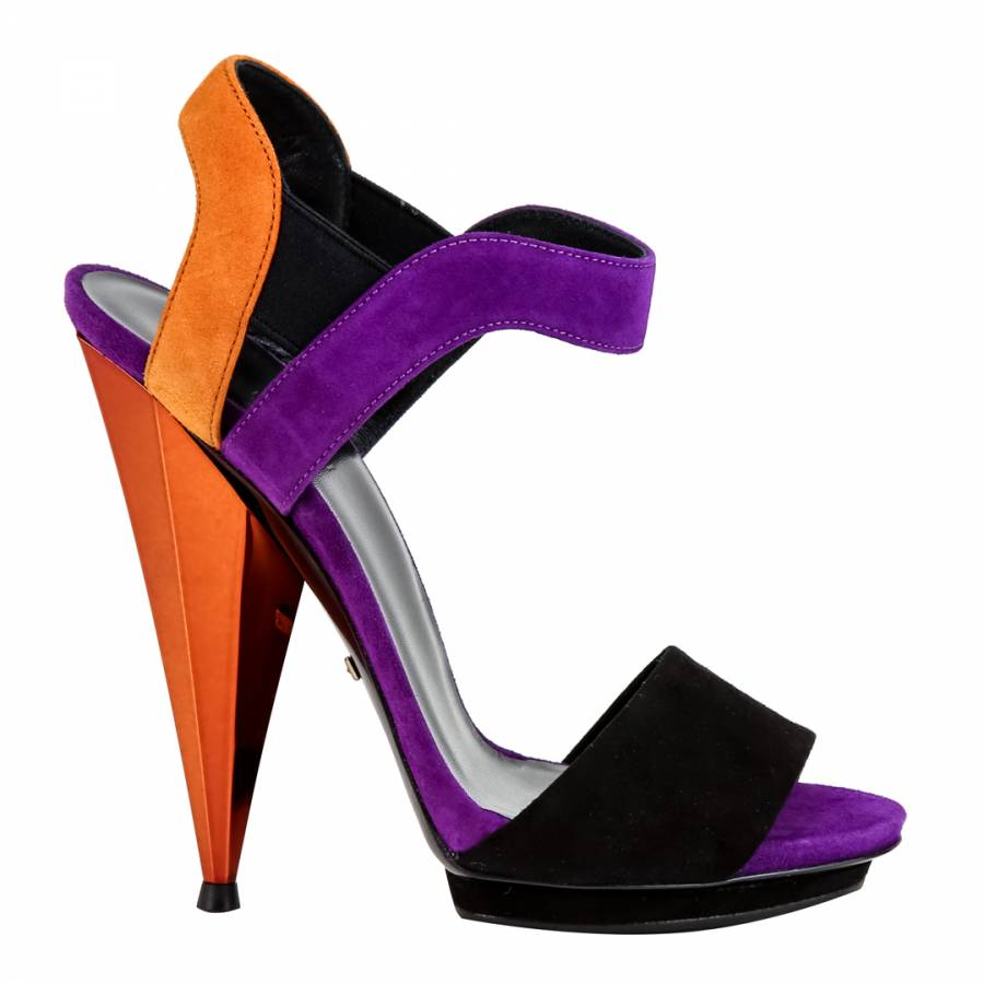 34b460eb4e Gucci Purple/Black/Orange Suede Liberty Colour Block Sandals Heel 8.5cm