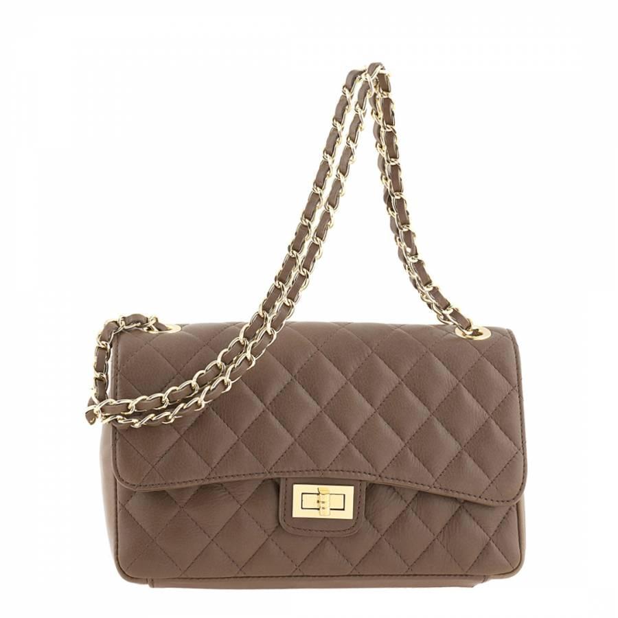 05d8fa3bc31d Taupe Leather Edalea Shoulder Bag - BrandAlley